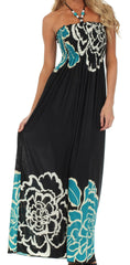 Sakkas Modern Floral Beaded Halter Smocked Bodice Maxi Dress