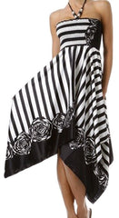 Striped Satin Feel Beaded Halter Smocked Bodice Handkerchief Hem Dress