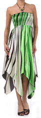 Swirl Design Satin Feel Beaded Halter Smocked Bodice Handkerchief Hem Dress