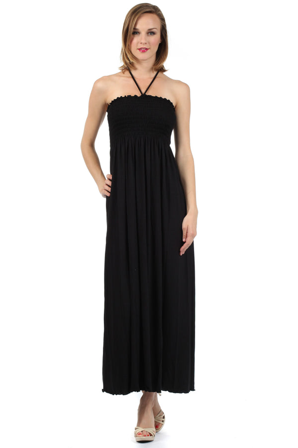 Sakkas Soft Jersey Feel Solid Color Smocked Bodice String Halter Long Dress#color_Black