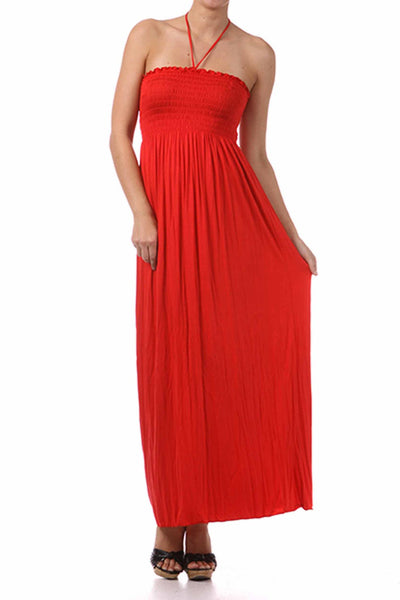 Sakkas Soft Jersey Feel Solid Color Smocked Bodice String Halter Long Dress