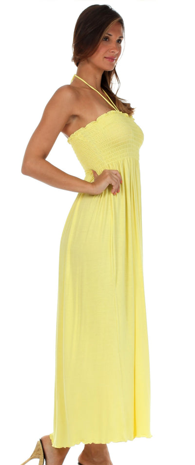 group-Yellow (Sakkas Soft Jersey Feel Solid Color Smocked Bodice String Halter Long Dress)