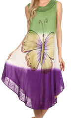 Sakkas Mia Butterfly Color Block Caftan Dress