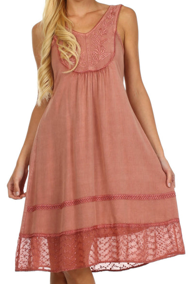 Sakkas Millie Embroidered Rayon Dress