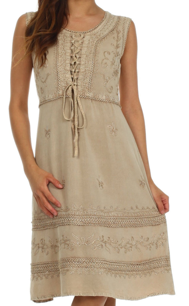 Sakkas Rosalina Embroidered Rayon Dress