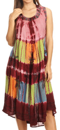 Sakkas Palm Tree Tie Dye Caftan Dress / Cover Up#color_Brown