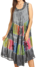 Sakkas Palm Tree Tie Dye Caftan Dress / Cover Up#color_Grey