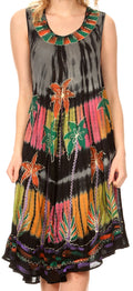 Sakkas Palm Tree Tie Dye Caftan Dress / Cover Up#color_Black