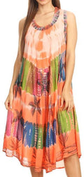 Sakkas Palm Tree Tie Dye Caftan Dress / Cover Up#color_Blush