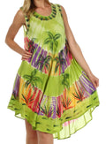 Sakkas Palm Tree Tie Dye Caftan Dress / Cover Up#color_Lime
