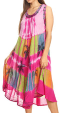 Sakkas Palm Tree Tie Dye Caftan Dress / Cover Up#color_Pink