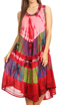 Sakkas Palm Tree Tie Dye Caftan Dress / Cover Up#color_Red