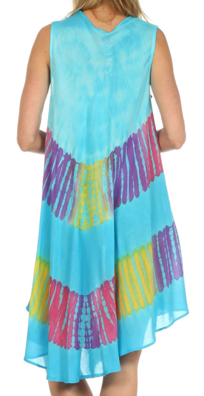 group-Turquoise (Sakkas Palm Tree Tie Dye Caftan Dress / Cover Up)