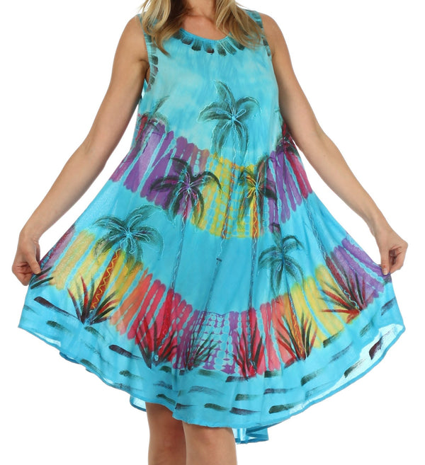 Sakkas Palm Tree Tie Dye Caftan Dress / Cover Up#color_Turquoise