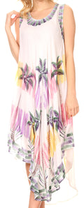 Sakkas Palm Tree Tie Dye Caftan Dress / Cover Up#color_White