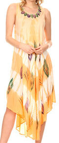 Sakkas Peacock Feather Caftan Dress / Cover Up#color_Blush