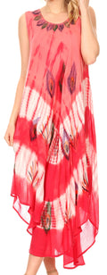 Sakkas Peacock Feather Caftan Dress / Cover Up#color_Coral