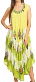 Sakkas Peacock Feather Caftan Dress / Cover Up#color_Lime