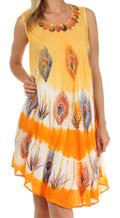Sakkas Peacock Feather Caftan Dress / Cover Up#color_Orange