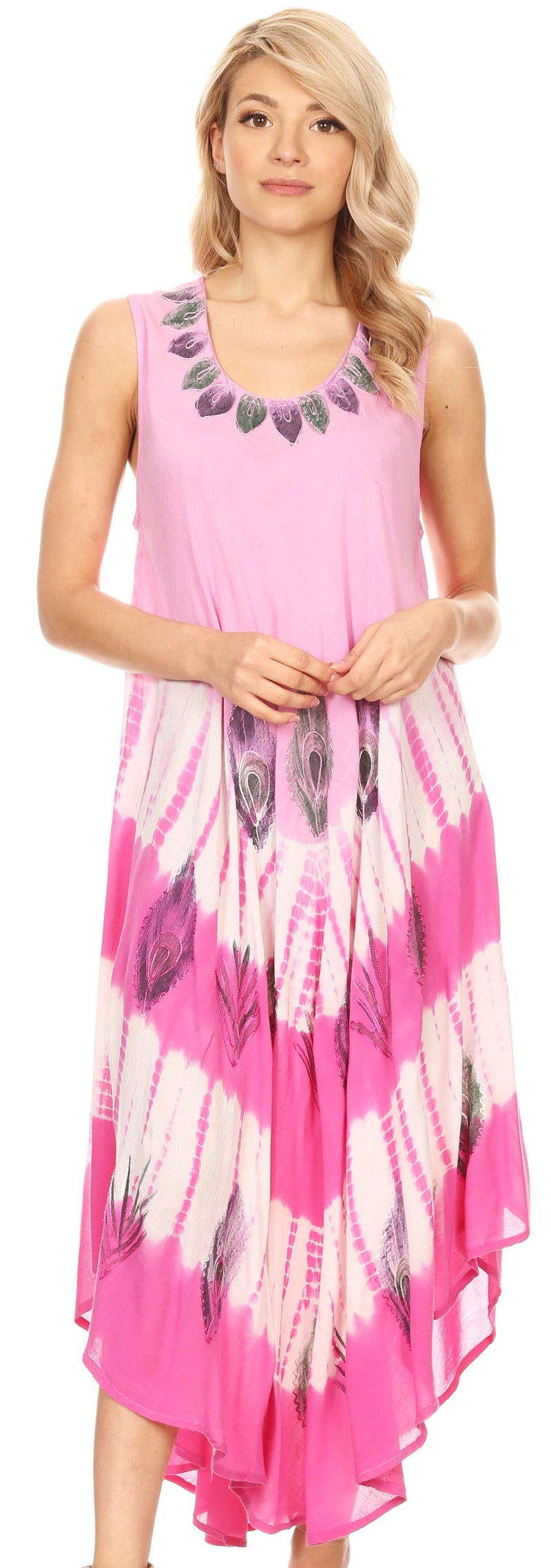 Sakkas Peacock Feather Caftan Dress / Cover Up