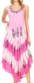 Sakkas Peacock Feather Caftan Dress / Cover Up#color_Pink