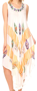 Sakkas Peacock Feather Caftan Dress / Cover Up#color_White