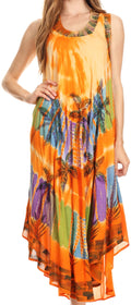 Sakkas Tasanee Caftan Tank Dress / Cover Up#color_Orange