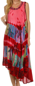 Sakkas Tasanee Caftan Tank Dress / Cover Up#color_Red