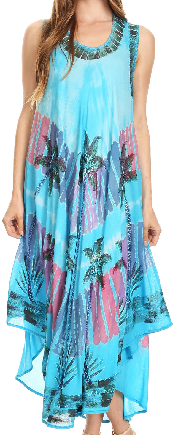 Sakkas Tasanee Caftan Tank Dress / Cover Up#color_Turquoise