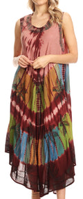Sakkas Tasanee Caftan Tank Dress / Cover Up#color_Wine