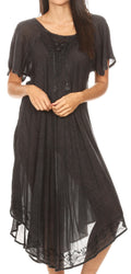 Sakkas Lilia Embroidered Lace Up Bodice Relaxed Fit  Maxi Sun Dress#color_A-Black