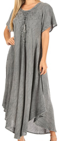 Sakkas Lilia Embroidered Lace Up Bodice Relaxed Fit  Maxi Sun Dress#color_A-Grey