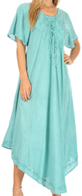Sakkas Lilia Embroidered Lace Up Bodice Relaxed Fit  Maxi Sun Dress#color_A-LtTeal