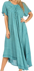 Sakkas Lilia Embroidered Lace Up Bodice Relaxed Fit  Maxi Sun Dress#color_A-Teal