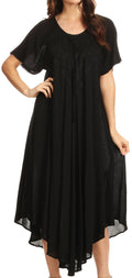 Sakkas Lilia Embroidered Lace Up Bodice Relaxed Fit  Maxi Sun Dress#color_Black