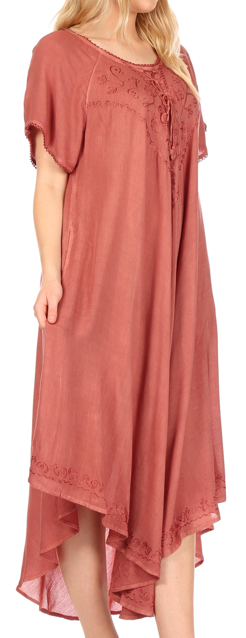 Sakkas Lilia Embroidered Lace Up Bodice Relaxed Fit  Maxi Sun Dress