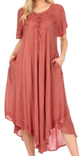 Sakkas Lilia Embroidered Lace Up Bodice Relaxed Fit  Maxi Sun Dress#color_Brown
