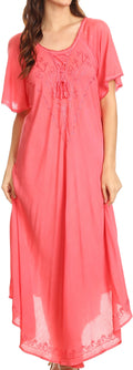 Sakkas Lilia Embroidered Lace Up Bodice Relaxed Fit  Maxi Sun Dress#color_Coral