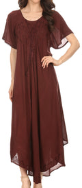 Sakkas Lilia Embroidered Lace Up Bodice Relaxed Fit  Maxi Sun Dress#color_Dark Brown