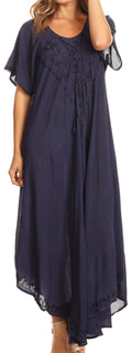 Sakkas Lilia Embroidered Lace Up Bodice Relaxed Fit  Maxi Sun Dress#color_Navy