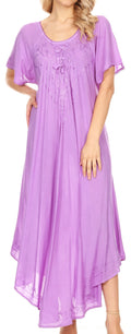 Sakkas Lilia Embroidered Lace Up Bodice Relaxed Fit  Maxi Sun Dress#color_Purple