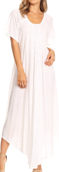 Sakkas Lilia Embroidered Lace Up Bodice Relaxed Fit  Maxi Sun Dress#color_White