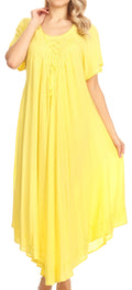Sakkas Lilia Embroidered Lace Up Bodice Relaxed Fit  Maxi Sun Dress#color_Yellow