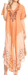 Sakkas Viveka Embroidered Caftan Dress#color_Peach