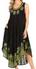 Sakkas Sundari Caftan Tank Dress / Cover Up#color_Black / Green