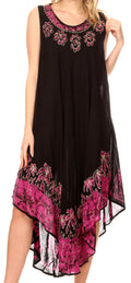 Sakkas Sundari Caftan Tank Dress / Cover Up#color_Black / Pink