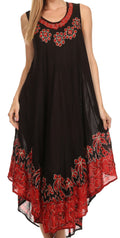 Sakkas Sundari Caftan Tank Dress / Cover Up#color_Black / Red