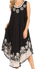 Sakkas Sundari Caftan Tank Dress / Cover Up#color_Black / White