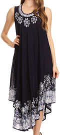 Sakkas Sundari Caftan Tank Dress / Cover Up#color_Navy / White