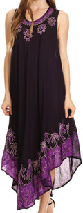 Sakkas Sundari Caftan Tank Dress / Cover Up#color_Purple